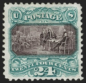 Sale Number 1187, Lot Number 222, 1875 Re-Issue of 1869 Pictorial Issue (Scott 123-133a)24c Green & Violet, Re-Issue (130), 24c Green & Violet, Re-Issue (130)