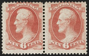 Sale Number 1187, Lot Number 228, 1870-71 National Bank Note Co. Grilled Issue (Scott 134-144)6c Carmine, H. Grill (137), 6c Carmine, H. Grill (137)