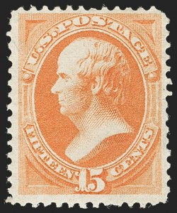 Sale Number 1187, Lot Number 248, 1870-71 National Bank Note Co. Ungrilled Issue (Scott 145-155)15c Bright Orange (152), 15c Bright Orange (152)