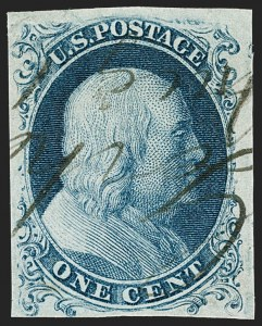 Sale Number 1187, Lot Number 25, 1851-56 Issue (Scott 5-17)1c Blue, Ty. Ia (6), 1c Blue, Ty. Ia (6)