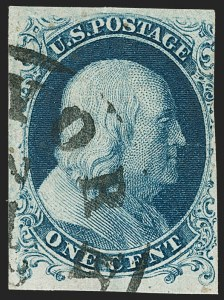 Sale Number 1187, Lot Number 26, 1851-56 Issue (Scott 5-17)1c Blue, Ty. Ia (6), 1c Blue, Ty. Ia (6)