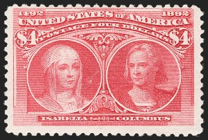 Sale Number 1187, Lot Number 383, 1893 Columbian Issue (Scott 230-245)$4.00 Rose Carmine, Columbian (244a), $4.00 Rose Carmine, Columbian (244a)