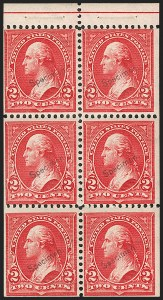 Sale Number 1187, Lot Number 414, 1894-98 Bureau Issues (Scott 246-284)2c Red, Ty. IV, Booklet Panes of Six (279Bj-S, 279Bj, 279Bk), 2c Red, Ty. IV, Booklet Panes of Six (279Bj-S, 279Bj, 279Bk)
