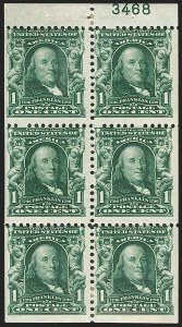 Sale Number 1187, Lot Number 448, 1902-08 Issues (Scott 300-320)1c Blue Green, 2c Carmine, Booklet Panes of Six (300b, 301c), 1c Blue Green, 2c Carmine, Booklet Panes of Six (300b, 301c)