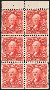 Sale Number 1187, Lot Number 451, 1902-08 Issues (Scott 300-320)2c Carmine, Booklet Pane of Six (301c), 2c Carmine, Booklet Pane of Six (301c)