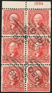 Sale Number 1187, Lot Number 452, 1902-08 Issues (Scott 300-320)2c Carmine, Booklet Pane of Six (301c), 2c Carmine, Booklet Pane of Six (301c)