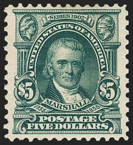 Sale Number 1187, Lot Number 460, 1902-08 Issues (Scott 300-320)$5.00 Dark Green (313), $5.00 Dark Green (313)