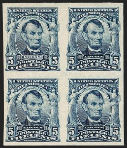 Sale Number 1187, Lot Number 464, 1902-08 Issues (Scott 300-320)5c Blue, Imperforate (315), 5c Blue, Imperforate (315)