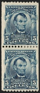 Sale Number 1187, Lot Number 465, 1902-08 Issues (Scott 300-320)5c Blue, Coil (317), 5c Blue, Coil (317)