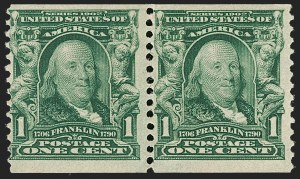 Sale Number 1187, Lot Number 468, 1902-08 Issues (Scott 300-320)1c Blue Green, Coil (318), 1c Blue Green, Coil (318)