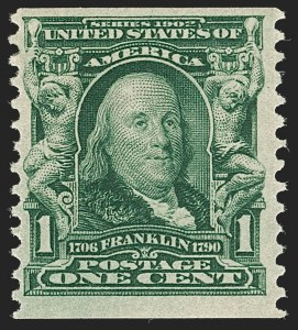 Sale Number 1187, Lot Number 469, 1902-08 Issues (Scott 300-320)1c Blue Green, Coil (318), 1c Blue Green, Coil (318)