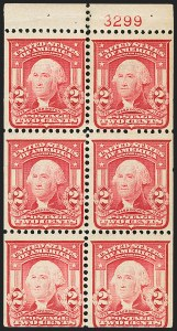 Sale Number 1187, Lot Number 470, 1902-08 Issues (Scott 300-320)2c Carmine, Ty. I, Booklet Pane of Six, Horizontal Watermark (319g var), 2c Carmine, Ty. I, Booklet Pane of Six, Horizontal Watermark (319g var)
