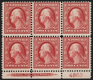 Sale Number 1187, Lot Number 526, 1909 Bluish Paper Issue (Scott 357-366)1c Green, 2c Carmine, Bluish (357-358), 1c Green, 2c Carmine, Bluish (357-358)