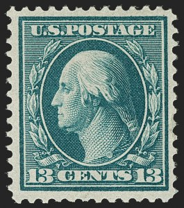 Sale Number 1187, Lot Number 535, 1909 Bluish Paper Issue (Scott 357-366)13c Bluish Green, Bluish (365), 13c Bluish Green, Bluish (365)