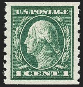 Sale Number 1187, Lot Number 572, 1912-14 Washington-Franklin Issue (Scott 405-423)1c Green, Coil (412), 1c Green, Coil (412)