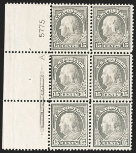 Sale Number 1187, Lot Number 575, 1912-14 Washington-Franklin Issue (Scott 405-423)15c Gray (418), 15c Gray (418)