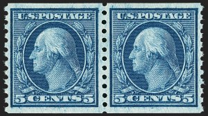 Sale Number 1187, Lot Number 596, 1913-15 Washington-Franklin Issues (Scott 424-461)5c Blue, Coil (458), 5c Blue, Coil (458)