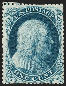 Sale Number 1187, Lot Number 60, 1857-60 Issue (Scott 18-39)1c Blue, Ty. Ia (19), 1c Blue, Ty. Ia (19)