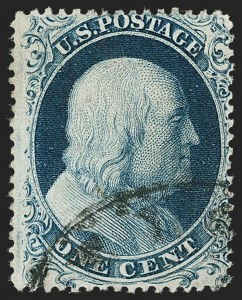 Sale Number 1187, Lot Number 61, 1857-60 Issue (Scott 18-39)1c Blue, Ty. Ia (19), 1c Blue, Ty. Ia (19)