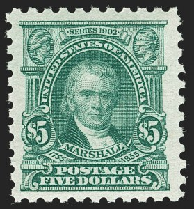 Sale Number 1187, Lot Number 614, 1916-17 Issues (Scott 462-480)$5.00 Light Green (480), $5.00 Light Green (480)