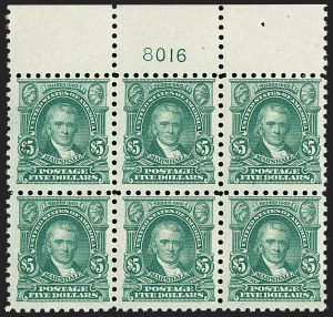 Sale Number 1187, Lot Number 615, 1916-17 Issues (Scott 462-480)$5.00 Light Green (480), $5.00 Light Green (480)