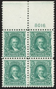 Sale Number 1187, Lot Number 616, 1916-17 Issues (Scott 462-480)$5.00 Light Green (480), $5.00 Light Green (480)