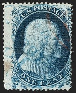 Sale Number 1187, Lot Number 63, 1857-60 Issue (Scott 18-39)1c Blue, Ty. Ic (19b), 1c Blue, Ty. Ic (19b)