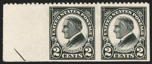 Sale Number 1187, Lot Number 670, 1922-29 and Later Issues (Scott 551-forward)2c Harding, Horizontal Pair, Imperforate Vertically (610a), 2c Harding, Horizontal Pair, Imperforate Vertically (610a)