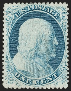 Sale Number 1187, Lot Number 71, 1857-60 Issue (Scott 18-39)1c Blue, Ty. IV (23), 1c Blue, Ty. IV (23)