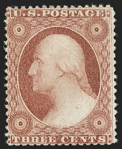 Sale Number 1187, Lot Number 73, 1857-60 Issue (Scott 18-39)3c Rose, Ty. I (25), 3c Rose, Ty. I (25)