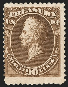 Sale Number 1187, Lot Number 733, Officials90c Treasury, Soft Paper (O113), 90c Treasury, Soft Paper (O113)