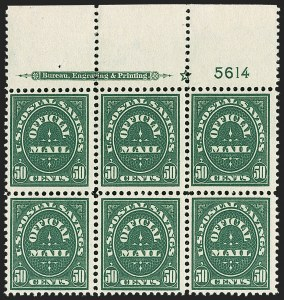Sale Number 1187, Lot Number 734, Officials50c Postal Savings (O122), 50c Postal Savings (O122)