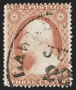 Sale Number 1187, Lot Number 74, 1857-60 Issue (Scott 18-39)3c Rose, Ty. I (25), 3c Rose, Ty. I (25)