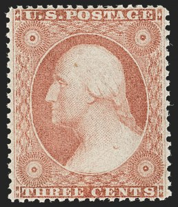 Sale Number 1187, Lot Number 76, 1857-60 Issue (Scott 18-39)3c Dull Red, Ty. II (26). Mint N.H, 3c Dull Red, Ty. II (26). Mint N.H