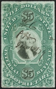 Sale Number 1187, Lot Number 791, Revenues$5.00 Green & Black on Violet Paper, Proprietary (RB10a), $5.00 Green & Black on Violet Paper, Proprietary (RB10a)