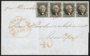 Sale Number 1188, Lot Number 25, 1847 Cover from California to New York,