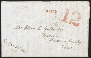 Sale Number 1189, Lot Number 1005, U.S. Military Occupation1849 August 18--Tuscon (Arizona) to Brazoria, Texas, via Guaymas, San Blas, Tepic, Guadalajara, Mexico City, Vera Cruz, and New Orleans, 1849 August 18--Tuscon (Arizona) to Brazoria, Texas, via Guaymas, San Blas, Tepic, Guadalajara, Mexico City, Vera Cruz, and New Orleans