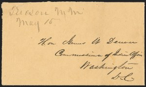 Sale Number 1189, Lot Number 1018, Early Mail and Expresses1857 May 15--Tucson, New Mexico Territory, to Santa Fe by Military Expresses, Military Pouch to Washington, D.C, 1857 May 15--Tucson, New Mexico Territory, to Santa Fe by Military Expresses, Military Pouch to Washington, D.C