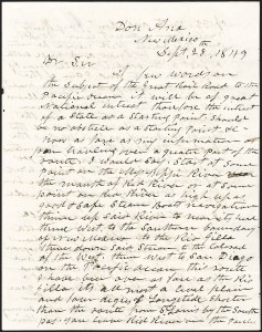 Sale Number 1189, Lot Number 1021, Early Mail and Expresses1849 Recommendation for a Transcontinental Railroad through New Mexico, 1849 Recommendation for a Transcontinental Railroad through New Mexico