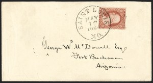 Sale Number 1189, Lot Number 1032, Early Mail and Expresses1860 May 17--Butterfield Overland Mail to Tucson, then by Lathrop's Buckboard Mail to Tubac, and by Private Rider to Fort Buchanan N.M, 1860 May 17--Butterfield Overland Mail to Tucson, then by Lathrop's Buckboard Mail to Tubac, and by Private Rider to Fort Buchanan N.M