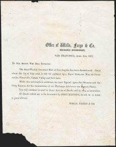 Sale Number 1189, Lot Number 1034, Early Mail and Expresses1861 Wells, Fargo & Co. Printed Announcement of Discontinuance of Overland Mail via Los Angeles, 1861 Wells, Fargo & Co. Printed Announcement of Discontinuance of Overland Mail via Los Angeles