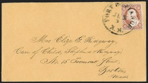 "Sale Number 1189, Lot Number 1043, Arizona Area of New Mexico Territory""Fort Defiance N.M. Jun. 3"" (1858) Circular Datestamp--Fort Defiance to Albuquerque by Military Express, then by Stage to Santa Fe, and by Hall-Hockaday Contract Mail to Independence, Missouri, ""Fort Defiance N.M. Jun. 3"" (1858) Circular Datestamp--Fort Defiance to Albuquerque by Military Express, then by Stage to Santa Fe, and by Hall-Hockaday Contract Mail to Independence, Missouri"
