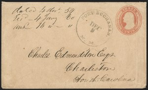 "Sale Number 1189, Lot Number 1047, Arizona Area of New Mexico Territory""Fort Buchanan N.M. Dec. 9"" (1859) Circular Datestamp--Military Express to Tubac, then by Lathrop's Buckboard Mail to Tucson, and from Tucson to Memphis by Butterfield Overland Mail, ""Fort Buchanan N.M. Dec. 9"" (1859) Circular Datestamp--Military Express to Tubac, then by Lathrop's Buckboard Mail to Tucson, and from Tucson to Memphis by Butterfield Overland Mail"