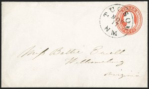 "Sale Number 1189, Lot Number 1069, Civil War and Confederate Arizona""Tucson N.M. Nov. 17"" (1860) Circular Datestamp--Fort Buchanan to Tubac by Military Express, then by Lathrop's Buckboard Mail to Tucson, and from Tucson to St. Louis by Butterfield Overland Mail, ""Tucson N.M. Nov. 17"" (1860) Circular Datestamp--Fort Buchanan to Tubac by Military Express, then by Lathrop's Buckboard Mail to Tucson, and from Tucson to St. Louis by Butterfield Overland Mail"