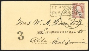 "Sale Number 1189, Lot Number 1072, Civil War and Confederate Arizona""Fort Buchanan N.M. Mar. 23"" (1861) Circular Datestamp--Alamos (Mexico) to Fort Buchanan by Stage, to Tubac by Military Express, Lathrop's Buckboard Mail to Tucson, to San Francisco by Butterfield Overland Mail, and to Sacramento by River Steamboat, ""Fort Buchanan N.M. Mar. 23"" (1861) Circular Datestamp--Alamos (Mexico) to Fort Buchanan by Stage, to Tubac by Military Express, Lathrop's Buckboard Mail to Tucson, to San Francisco by Butterfield Overland Mail, and to Sacramento by River Steamboat"
