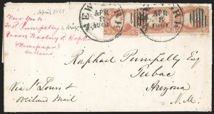 Sale Number 1189, Lot Number 1076, Civil War and Confederate Arizona1861 April--Steamer and Stage to Tucson via Confederate Texas, Lathrop's Buckboard Mail to Tubac, 1861 April--Steamer and Stage to Tucson via Confederate Texas, Lathrop's Buckboard Mail to Tubac