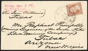 Sale Number 1189, Lot Number 1077, Civil War and Confederate Arizona1861 April--Steamer and Stage to Tucson via Confederate Texas, Lathrop's Buckboard Mail to Tubac, 1861 April--Steamer and Stage to Tucson via Confederate Texas, Lathrop's Buckboard Mail to Tubac