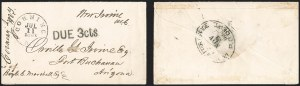 Sale Number 1189, Lot Number 1079, Civil War and Confederate Arizona1861 July 11--Suspended Mail Route to Fort Buchanan, Sent to U.S. Dead Letter Office, 1861 July 11--Suspended Mail Route to Fort Buchanan, Sent to U.S. Dead Letter Office