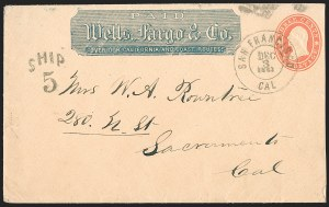 Sale Number 1189, Lot Number 1082, Civil War and Confederate ArizonaWells, Fargo & Co. 25¢ Blue Printed Frank, Wells, Fargo & Co. 25¢ Blue Printed Frank