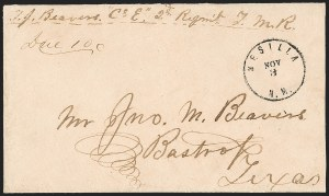 "Sale Number 1189, Lot Number 1083, Civil War and Confederate Arizona""Mesilla N.M. Nov. 3"" (1861)--Earliest Recorded Use of Mesilla Confederate Postal Marking, ""Mesilla N.M. Nov. 3"" (1861)--Earliest Recorded Use of Mesilla Confederate Postal Marking"